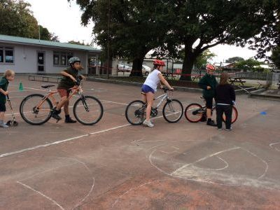 South End School practice safe cycling