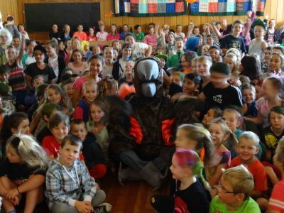 Jack the Kaka sits in at Assembly