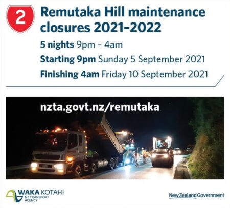 SH2 Remutaka Hill Nighttime Closures